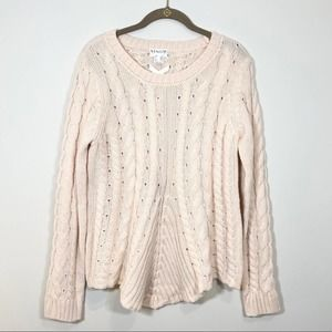 Venus Crew Neck Cable Knit Sweater Lace Up Back